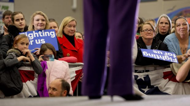 Clinton supporters listen as she speaks in New Hampshire on Tuesday.
