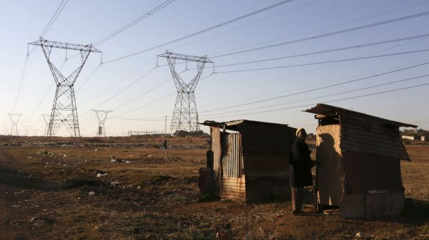 Power lines cross an informal settlement on the outskirts of Sebokeng, south of Johannesburg, last year.