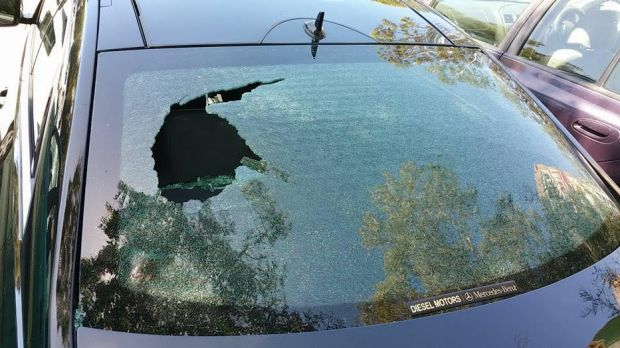 Steven is grateful his four-year-old son was not sitting in this spot when an object was thrown threw his rear window on ...
