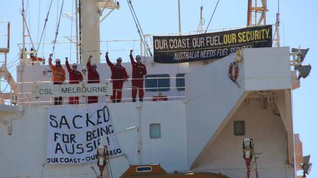 ''Many of us will never work again'': CSL Melbourne crew protest in Newcastle.