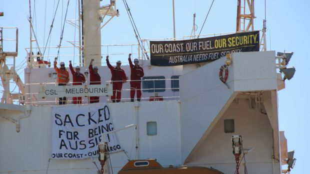 A large contingent of police raided the CSL Melbourne  in Newcastle in February 2016, removing five Australian crew members.