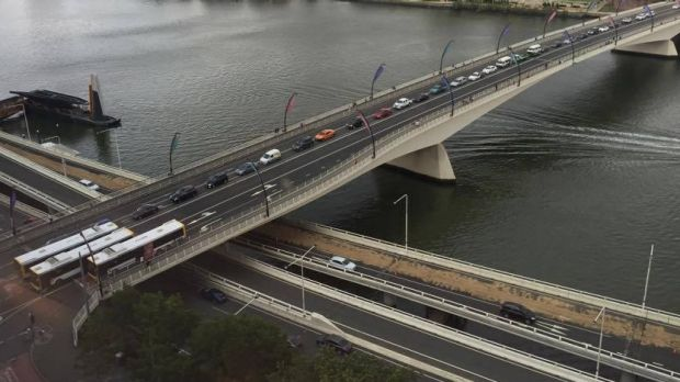 Traffic was delayed due to a diesel spill on the Riverside Expressway.