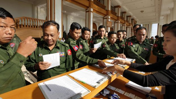 Military-appointed members of the Myanmar parliament attending the final session of the previous parliament on January ...