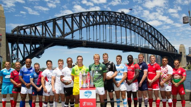 Sydney Sevens team captains, including Australia's Ed Jenkins, at Milsons Point on Wednesday.