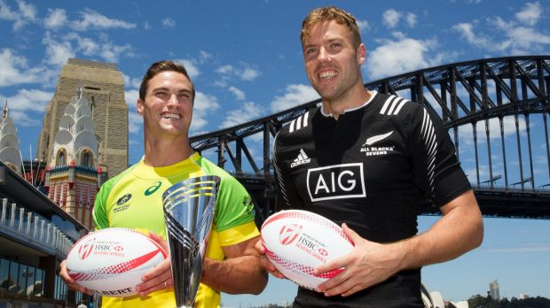 Team captains Ed Jenkins, Australia, and Tim Mikkelson, New Zealand, pose for a photograph for the World Rugby Sevens ...