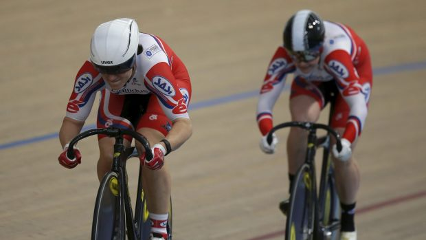 Anna Meares (left) competes in the women's team sprint on Wednesday.