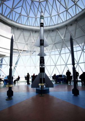 Models of different types of rockets are displayed at the Sci-Tech Complex in Pyongyang, North Korea on Wednesday.