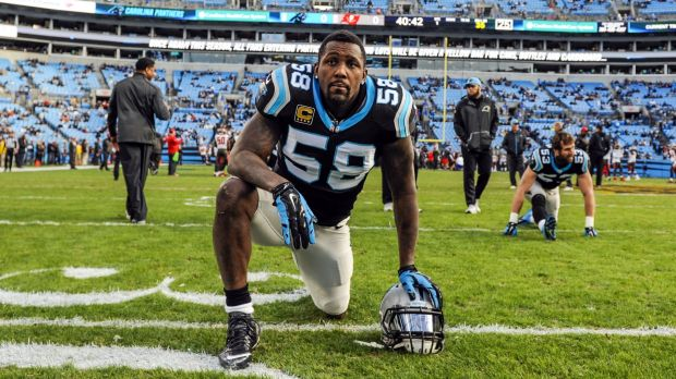 Fighting through the pain barrier: Carolina Panthers linebacker Thomas Davis is expected to ignore a broken arm and play ...