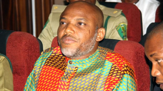 Biafran separatist leader and broadcaster Nnamdi Kanu attends a court hearing at the Federal High Court in Abuja, ...