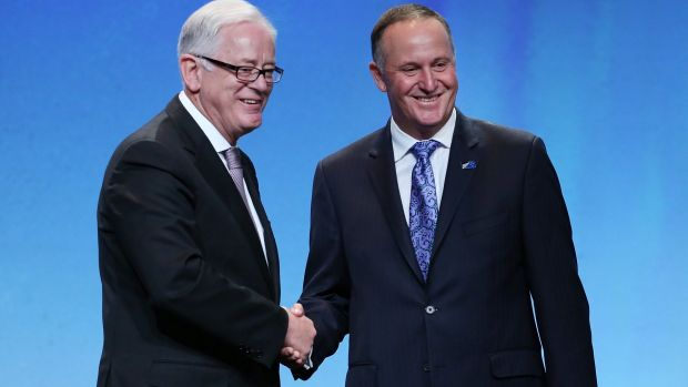 Mr Robb with New Zealand Prime Minister John Key after signing the Trans Pacific Partnership on Thursday.