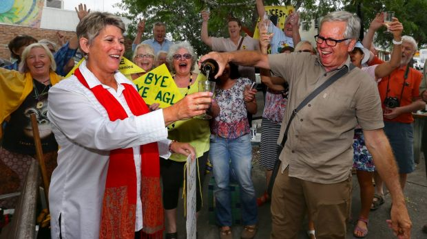 Celebration time: Julie Lyford and John Watts join fellow anti-CSG members on Thursday in Gloucester.