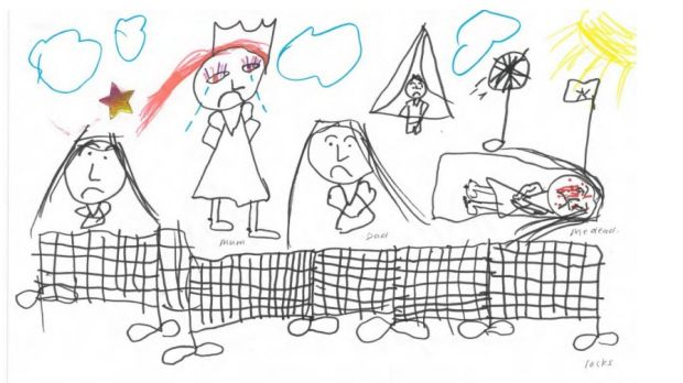 A drawing from a child in the Wickham Point detention centre in Darwin.