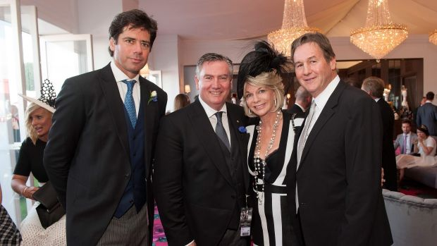AFL chief executive Gillon McLachlan, Eddie McGuire, Rhonda Whylie and her husband, Jeff Browne.
