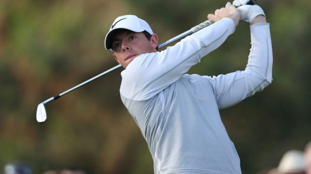 Rory McIlroy tees off on the 11th hole during the first round of the Dubai Desert Classic on Thursday.
