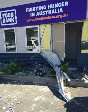 The damage the the front of the Foodbank Bunbury building.
