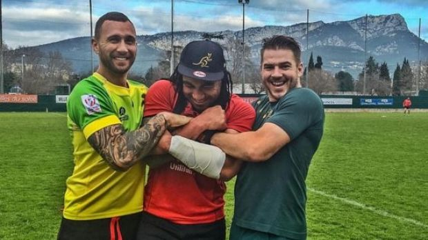 Clowning around: Quade Cooper, Ma'a Nonu and Drew Mitchell in Toulon last week.