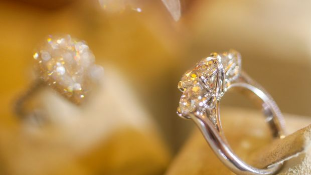 A diamond ring on display at Fairfax & Roberts Jewellers in Sydney.