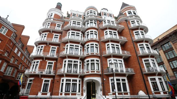 The building housing the Ecuadorian embassy where Wikileaks founder Julian Assange continues to seek asylum.