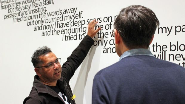 Vernon Ah Kee discusses his work Many lies (2004) with curator Stephen Gilchrist at the Harvard Art Museums show.