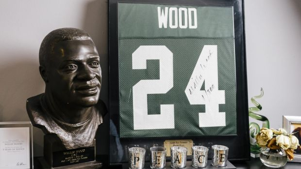 A duplicate of Willie Wood's Hall of Fame bust is among the memorabilia at his home, where his son Willie Wood jnr now lives.