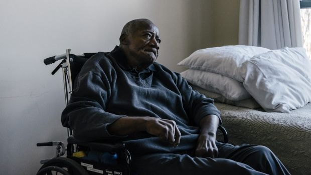 Rich history: Willie Wood in his apartment at the Sunrise Senior Living Centre in Washington.