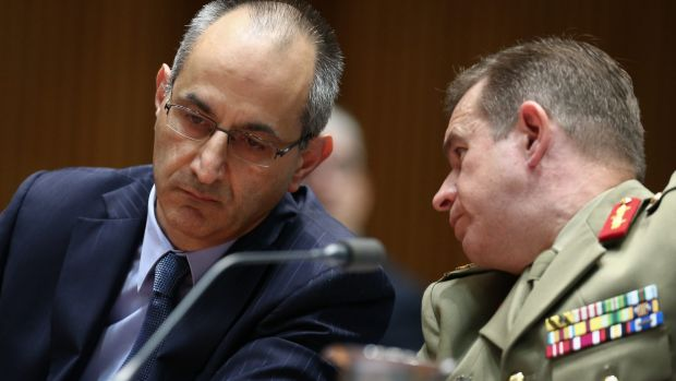 Michael Pezzullo, Secretary of the Department of Immigration and Border Protection, and Major-General Andrew Bottrell, ...