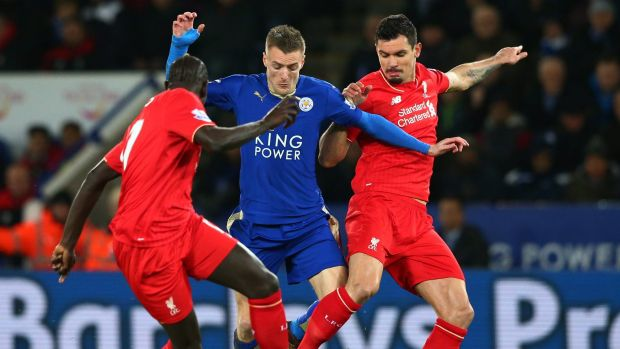 Top-scorer: Jamie Vardy (centre) and his Leicester City teammates come up against Manchester City this weekend.