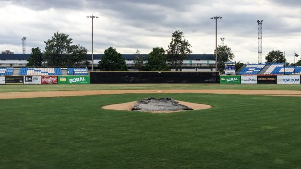 Temporary grandstands have increased Holloway Field's capacity to 4000 for the ABL Championship Series.
