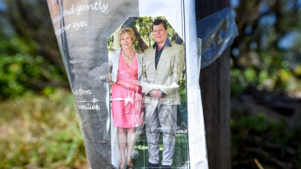 A memorial image at Point Lonsdale Lighthouse for Ian Chamberlain and Dianne Bradley.
