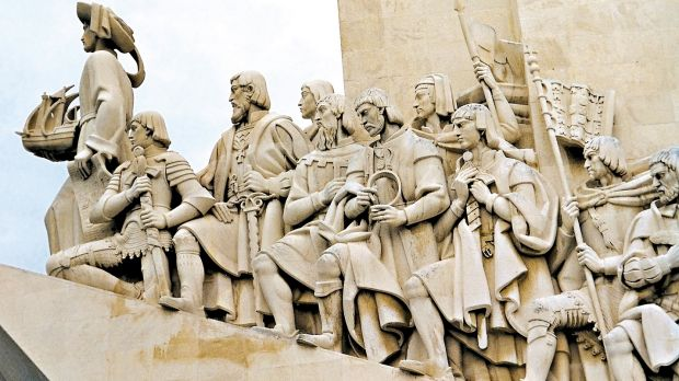 Henry the Navigator leads the Portuguese explorers in a Lisbon Monument.