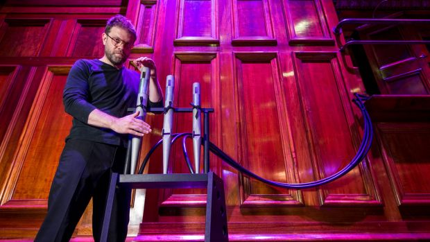 Simon James Phillips with the pipes that have been removed for the performance.