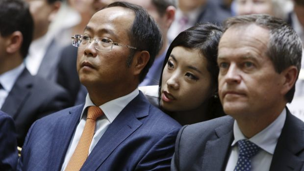 Huang Xiangmo and Opposition Leader Bill Shorten at an event in 2014.