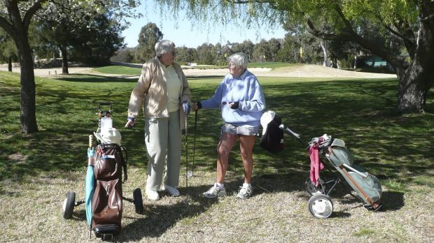 Clare Smith and Pat Guy at the Phillip Pitch and Putt shortly before it closed in 2013.