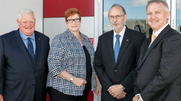CEA Technologies co-founder David Gaul, Defence Minister Marise Payne, technical director and co-founder Ian Croser, and ...