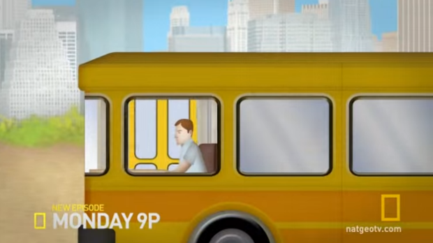 Which way the bus is travelling depends on where the passenger door is.