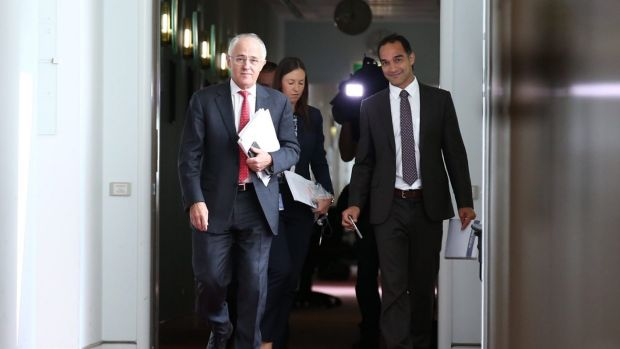 Prime Minister Malcolm Turnbull with media adviser John Garnaut.