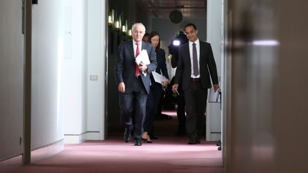Malcolm Turnbull strolls the press gallery at Parliament House in Canberra.