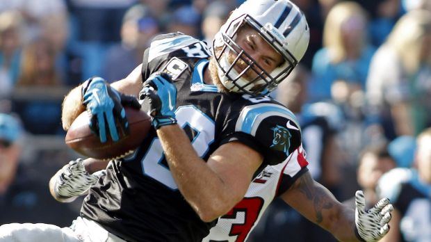 Safety net: Greg Olsen has been Cam Newton's favourite target this year.