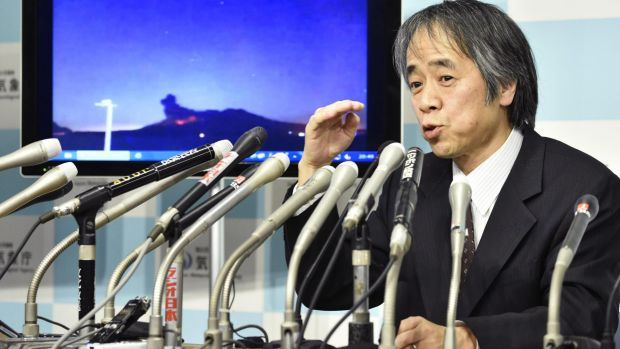Japan Meteorological Agency volcanology division director Sadayuki Kitagawa talks about the eruption on Friday evening.