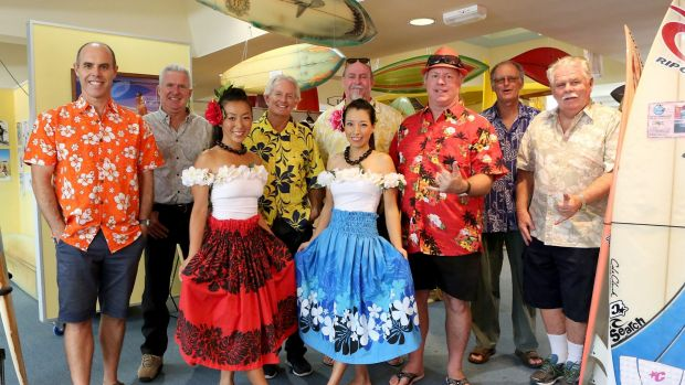 (L-R) Ben Matson (Swellnet), Andrew McCarthy (Surf Council spokesperson), Ecco Kunihiro (dancer), Chris Butler ...