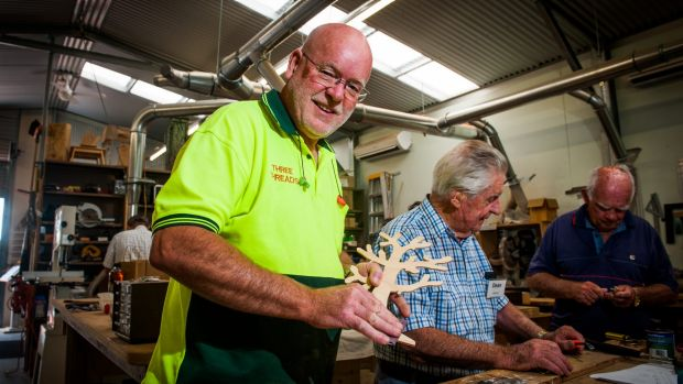Belconnen Community Men's Shed manager, Gordon Cooper with members as residents in Page earn the closest to the national ...