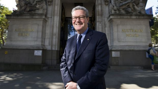 Sumptuous soirees: Alexander Downer  outside Australia House in London.