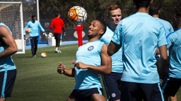 Hamming it up: Melbourne City players enjoy a light moment at training.