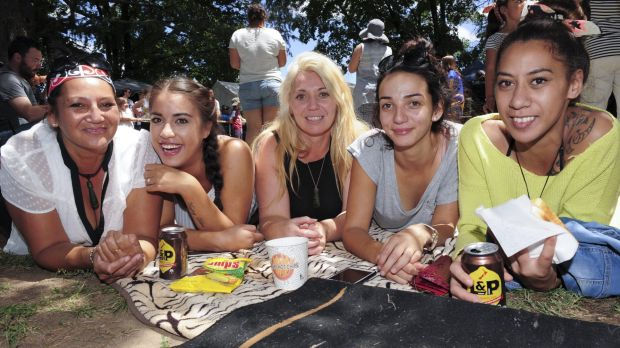 Enjoying L&P and Pineapple Lumps, from left, Suzanne Huria, Ruth Howe, Rachel Huria, Anzac Huria and Ashley Matiu.