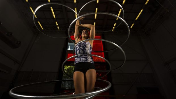 Mieke Lizotte practising at the Cirque du Soleil auditions.