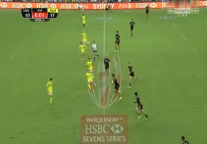 Seven or eight? Zealand appeared to have eight players on the field during try after the siren.