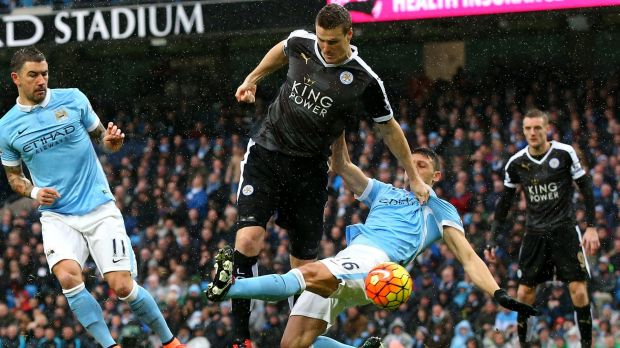 Robert Huth scores during the match between Manchester City and Leicester City.