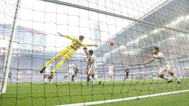 OPening goal: Berisha puts the Victory in front.
