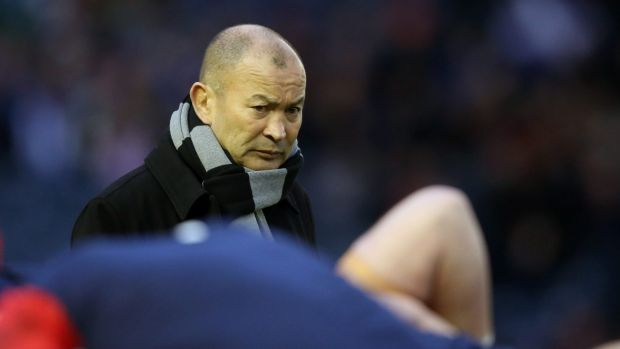 Watchful eye: Eddie Jones observes England's warm-up ahead of Saturday's match against Scotland.