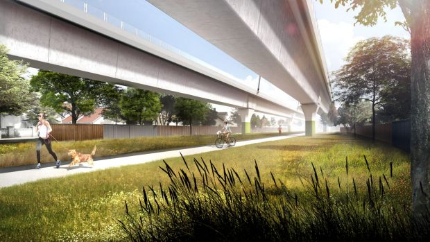 A new park that would be created under the planned rail line.